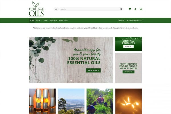 Heritage Oils - Ecommerce Website Design