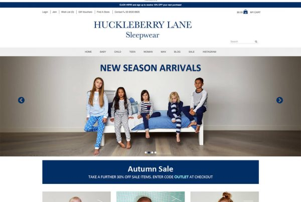 Huckleberry Lane - Online Shop Ecommerce Website Design