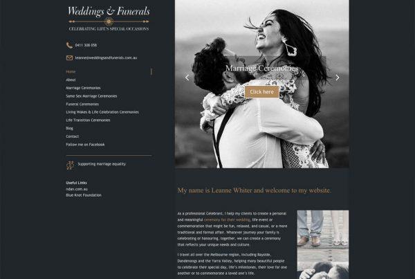 Weddings Funerals Celebrant Website Design