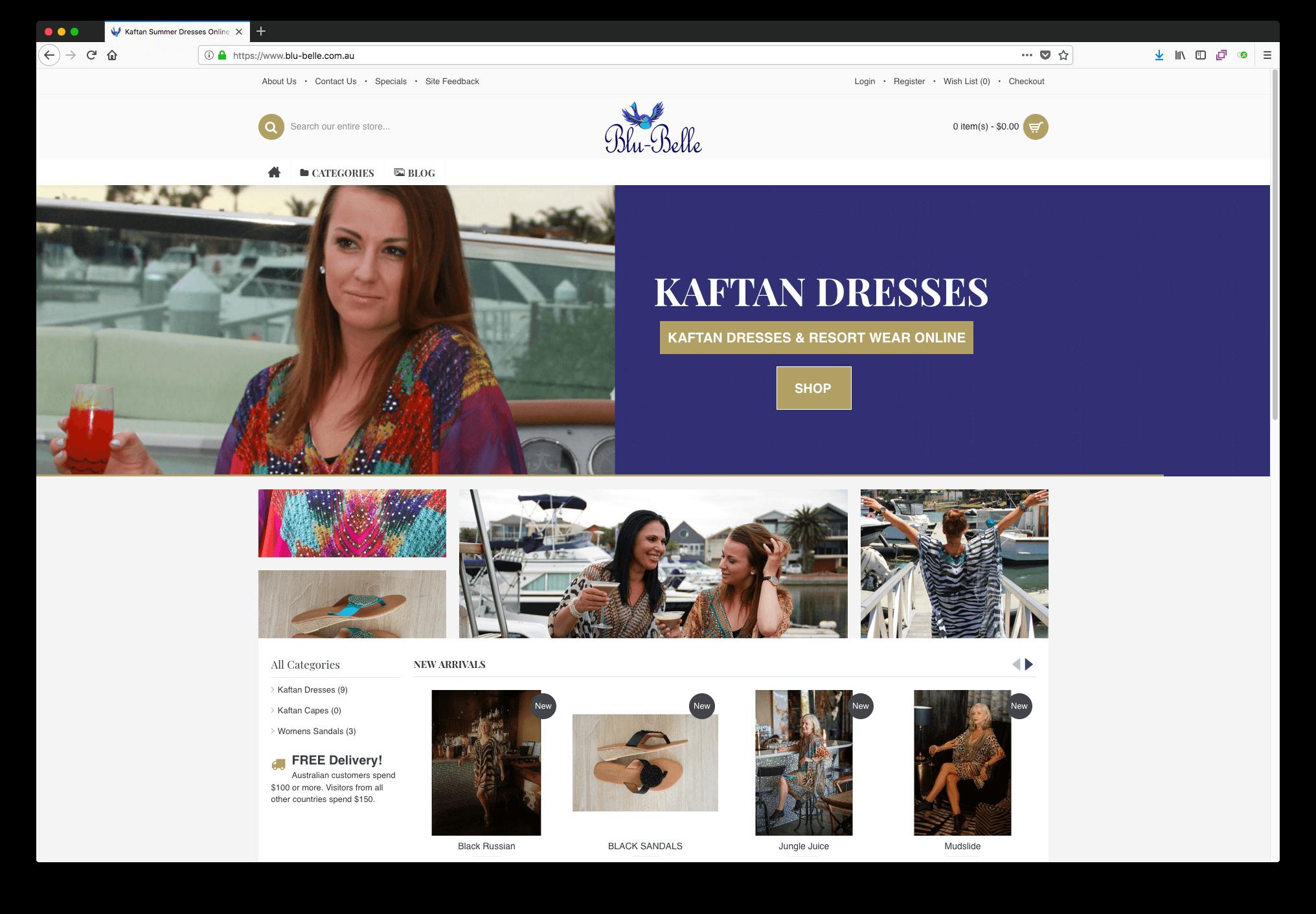 Blu Belle Ecommerce Website