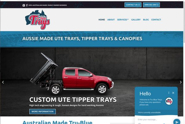 Tru-Blue Trays Website Design - Custom Ute Trays Victoria