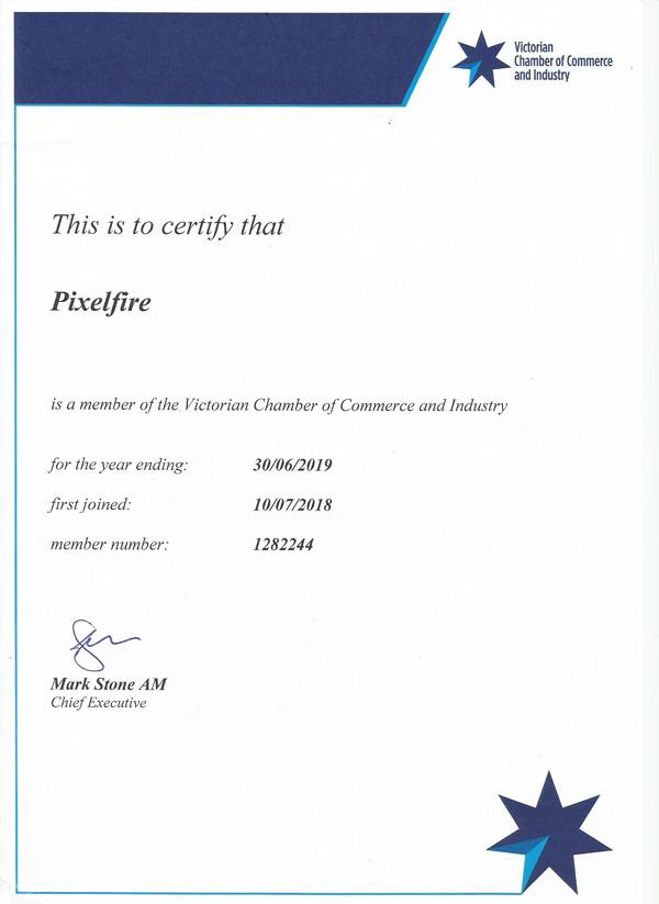 Pixelfire - Victorian Chamber Of Commerce Member