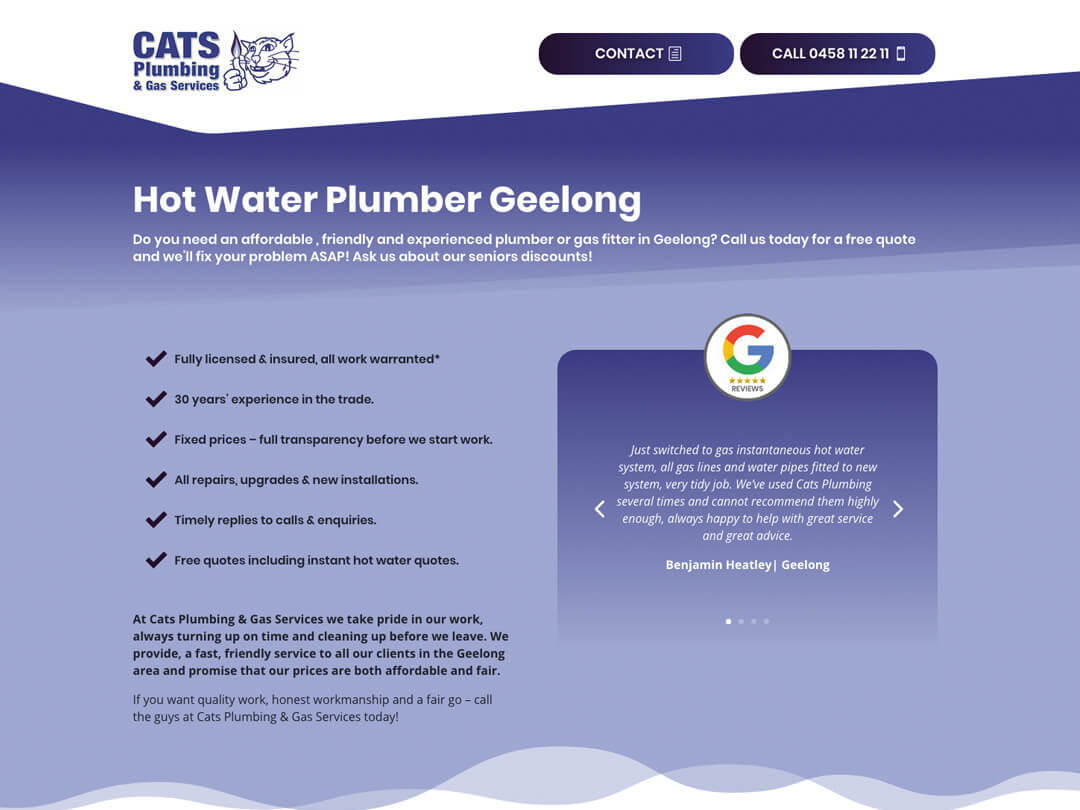 One Page Website Design Geelong